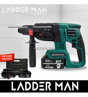 [PACKAGE] Ladderman LDM242-2LI-3MODE Brushless Motor Cordless Rotary Hammer Drill Function with Two Batteries Powertool