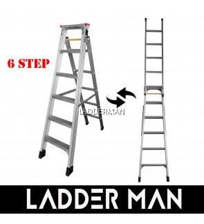 2-in-1 Dual Use Multipurpose 6 Step 3.2M Foldable Aluminium Ladder - DM06S