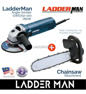 COMBO SET Ladderman GWS750-100 Angle Grinder with Chainsaw Attachment (1C)