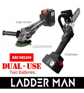 "Ladderman Dual-Use Cordless Brushless 12"" Chainsaw / Angle Grinder with Two 168VF Lithium Battery Chain Saw Cutting Machine"