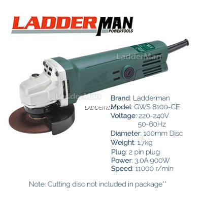 COMBO SET Ladderman GWS 8100-CE Angle Grinder GWS 060 with Chainsaw Attachment (1C)