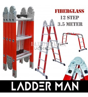 Fiberglass Heavy Duty 12 Step 3.5 Meter Multipurpose Ladder ( FAZ-4X3 )