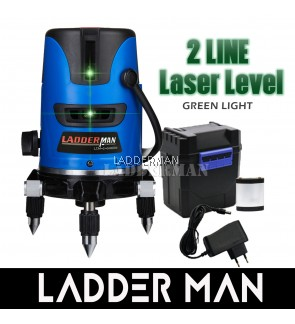 [ Package ] Ladderman LDM-2-GREEN 2 Line Green Light Automatic Laser Leveling Instrument 360° Rotary Measuring Tool