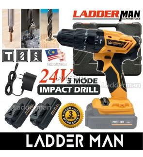 LADDERMAN LDM-CD24V Cordless Hammer Impact Drill Screwdriver 2 Speed with 2 Li-Ion Lithium Battery
