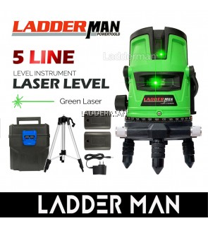[PACKAGE] LADDERMAN LDM-5-GREEN 5 Lines 6 Point Adjustable Laser Level 360° Rotary Indoor Outdoor Self Levelling Measuring Tool Set