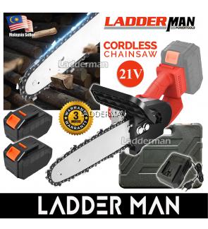 "LADDERMAN LDM-CS21V-2LI 12"" Cordless Chainsaw Chain Saw Power Performance Fast Wood Cutting Cutter Potong Kayu With 2 Battery"