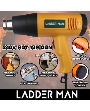 1800W 240V Hot Air Gun Temperature and Air Flow Control With 1pc Nozzle Multipurpose Universal DIY Construction Factory Workshop
