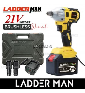 21V LDM-DW21V-1LI 580Nm 5.0Ah Brushless Cordless Impact Wrench 1/2 Drive Ratchet with Battery and 2Pcs Sockets