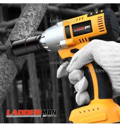 21V LDM-DW21V-1LI 580Nm 5.0Ah Brushless Cordless Impact Wrench 1/2 Drive Ratchet with Battery and 2Pcs Sockets