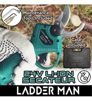 Ladderman 24v Li-Ion Cordless Secateur Electric Pruner Shears For Prunning Cutting Garden Flower Plant Landscap DIY