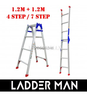 (1.2M + 1.2M) 2.4M 7 Step Multifunctional Dual Purpose Two Way Aluminium Ladder
