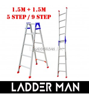 (1.5M + 1.5M) 3.0M 9 Step Multifunctional Dual Purpose Two Way Aluminium Ladder