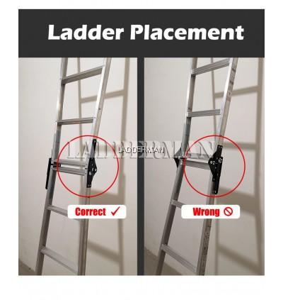 (1.5M + 1.5M) 3.0M 9 Step Multifunctional Dual Purpose Two Way Aluminium Ladder