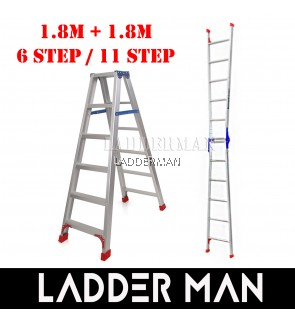 (1.8M + 1.8M) 3.6M 11 Step Multifunctional Dual Purpose Two Way Aluminium Ladder