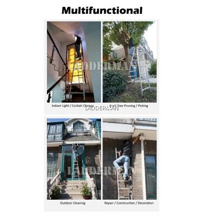 (2.7M + 2.7M) 5.4M 17 Step Multifunctional Dual Purpose Two Way Aluminium Ladder