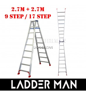 (2.7M + 2.7M) 5.4M 17 Step Multifunctional Dual Purpose Two Way Aluminium Ladder