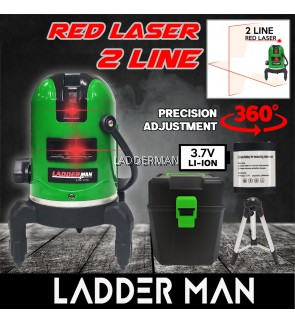LADDERMAN LDM-2RED 2 Lines Adjustable Red Laser Level 360° Rotary Indoor Outdoor Self Levelling Measure