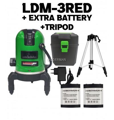 LADDERMAN LDM-3RED 3 Lines Adjustable Laser Level 360° Rotary Indoor Outdoor Self Levelling Measure