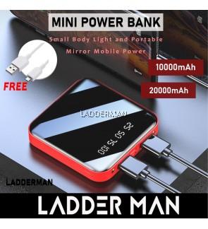 185S 10000Mah 20000mAh Portable Mini PowerBank Mirror Screen Digital Display Power Bank External Battery Pack Red Blue Black