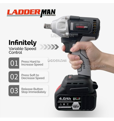 168VF LDM-1305-1LI 520Nm 4.0Ah Brushless Cordless Impact Wrench 1/2 Drive Ratchet with Battery