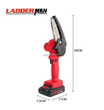 LDM100-24V-1LI Ladderman Mini Chainsaw 4 Inch Cordless Electric Portable Chainsaw Rechargeable Li-ion Battery