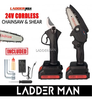 """LADDERMAN 24V Electric Mini Cordless Chainsaw 4"""" and Shear Portable Chain saw Battery Wood Cutter Pruning Shear Cutter"""
