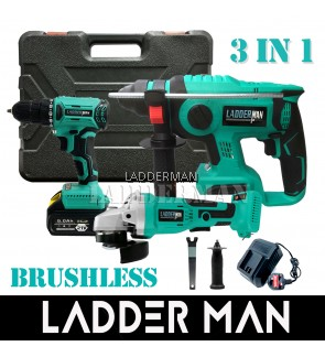 [ 3 IN 1 ] Ladderman Brushless Cordless Rotary Hammer / Drill / Angle Grinder with 21V 4.0/5.0Ah Li-ion Battery Combo Set
