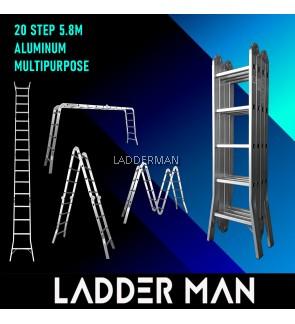 WB58 20 STEP MULTIPURPOSE ALUMINIUM LADDER WIDER BASE