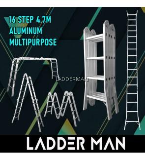 WB47 16 STEP MULTIPURPOSE ALUMINIUM LADDER WIDER BASE