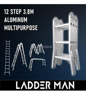 WB38 3.8M 12 STEP MULTIPURPOSE ALUMINIUM LADDER WIDER BASE